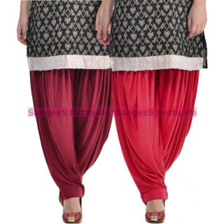 SangeeS Superior Quality Viscose Lycra Pattiyala 2 Pack Combo With   Mulberry - Meroon