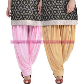 SangeeS Superior Quality Viscose Lycra Pattiyala 2 Pack Combo With   Light Pink - Biege