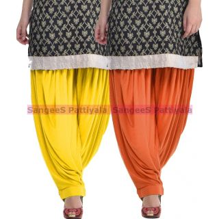 SangeeS Superior Quality Viscose Lycra Pattiyala 2 Pack Combo With   Yellow - Trendy Brown