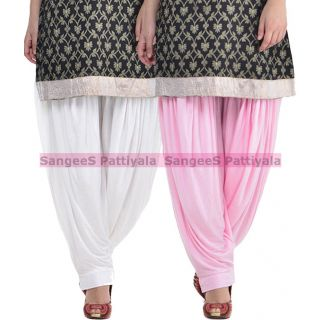 SangeeS Superior Quality Viscose Lycra Pattiyala 2 Pack Combo With   White - Light Pink
