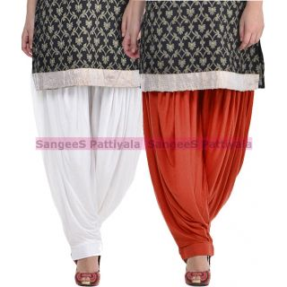 SangeeS Superior Quality Viscose Lycra Pattiyala 2 Pack Combo With   White - Deep Brown
