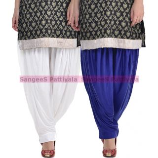 SangeeS Superior Quality Viscose Lycra Pattiyala 2 Pack Combo With   White - Royal Blue