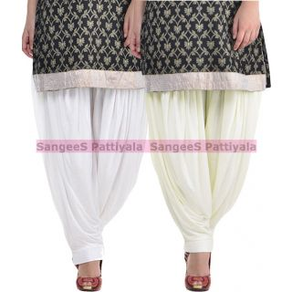SangeeS Superior Quality Viscose Lycra Pattiyala 2 Pack Combo With   White - Cream