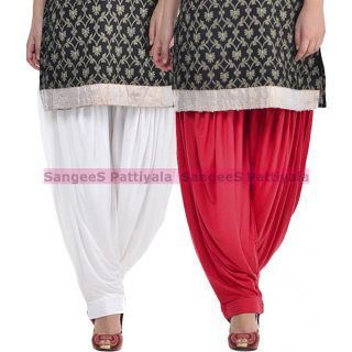 SangeeS Superior Quality Viscose Lycra Pattiyala 2 Pack Combo With   White - Meroon