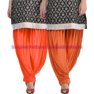 SangeeS Superior Quality Viscose Lycra Pattiyala 2 Pack Combo With   Orange - Trendy Brown