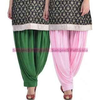 SangeeS Superior Quality Viscose Lycra Pattiyala 2 Pack Combo With   Deep Green - Light Pink