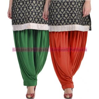 SangeeS Superior Quality Viscose Lycra Pattiyala 2 Pack Combo With   Deep Green - Deep Brown