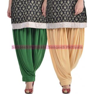 SangeeS Superior Quality Viscose Lycra Pattiyala 2 Pack Combo With   Deep Green - Biege