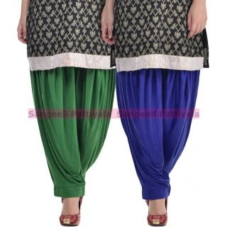 SangeeS Superior Quality Viscose Lycra Pattiyala 2 Pack Combo With   Deep Green - Royal Blue