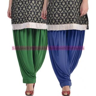 SangeeS Superior Quality Viscose Lycra Pattiyala 2 Pack Combo With   Deep Green - Navy