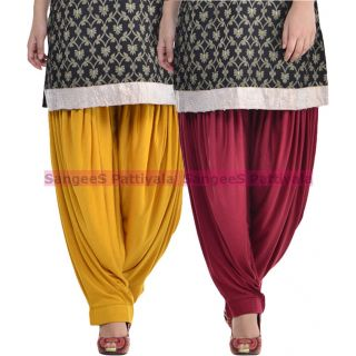 SangeeS Superior Quality Viscose Lycra Pattiyala 2 Pack Combo With   Mustard - Mulberry