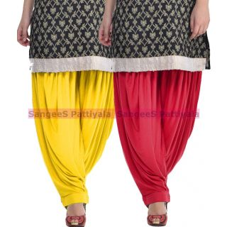 SangeeS Superior Quality Viscose Lycra Pattiyala 2 Pack Combo With   Yellow - Meroon