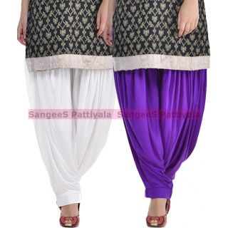 SangeeS Superior Quality Viscose Lycra Pattiyala 2 Pack Combo With   White - Violet