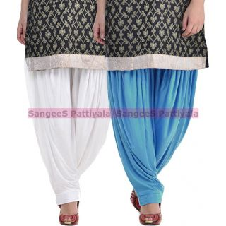 SangeeS Superior Quality Viscose Lycra Pattiyala 2 Pack Combo With   White - Sky Blue