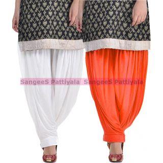 SangeeS Superior Quality Viscose Lycra Pattiyala 2 Pack Combo With   White - Orange