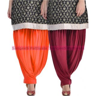 SangeeS Superior Quality Viscose Lycra Pattiyala 2 Pack Combo With   Orange - Mulberry