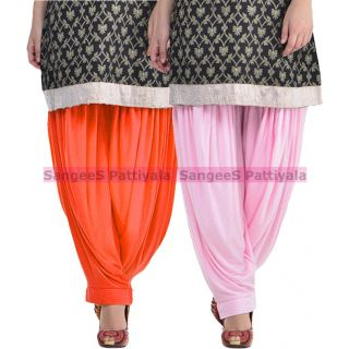 SangeeS Superior Quality Viscose Lycra Pattiyala 2 Pack Combo With   Orange - Light Pink