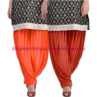 SangeeS Superior Quality Viscose Lycra Pattiyala 2 Pack Combo With   Orange - Deep Brown
