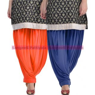 SangeeS Superior Quality Viscose Lycra Pattiyala 2 Pack Combo With   Orange - Navy
