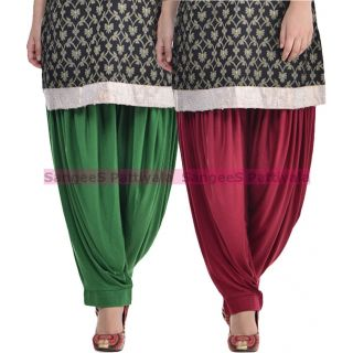 SangeeS Superior Quality Viscose Lycra Pattiyala 2 Pack Combo With   Deep Green - Mulberry