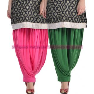 SangeeS Superior Quality Viscose Lycra Pattiyala 2 Pack Combo With   Hot Pink - Deep Green