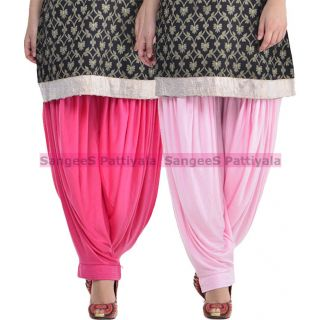 SangeeS Superior Quality Viscose Lycra Pattiyala 2 Pack Combo With   Hot Pink - Light Pink