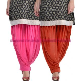 SangeeS Superior Quality Viscose Lycra Pattiyala 2 Pack Combo With   Light Pink - Deep Brown