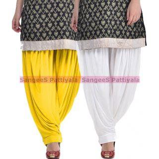 SangeeS Superior Quality Viscose Lycra Pattiyala 2 Pack Combo With   Yellow - White