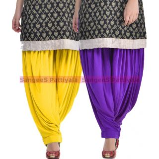 SangeeS Superior Quality Viscose Lycra Pattiyala 2 Pack Combo With   Yellow - Violet