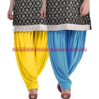 SangeeS Superior Quality Viscose Lycra Pattiyala 2 Pack Combo With   Yellow - Sky Blue