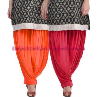 SangeeS Superior Quality Viscose Lycra Pattiyala 2 Pack Combo With   Orange - Meroon