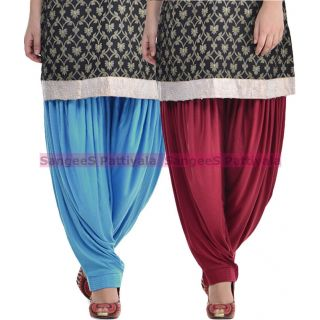 SangeeS Superior Quality Viscose Lycra Pattiyala 2 Pack Combo With   Sky Blue - Mulberry