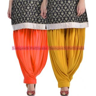 SangeeS Superior Quality Viscose Lycra Pattiyala 2 Pack Combo With   Orange - Mustard