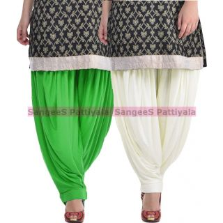 SangeeS Superior Quality Viscose Lycra Pattiyala 2 Pack Combo With   Green - Cream