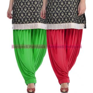 SangeeS Superior Quality Viscose Lycra Pattiyala 2 Pack Combo With   Green - Meroon