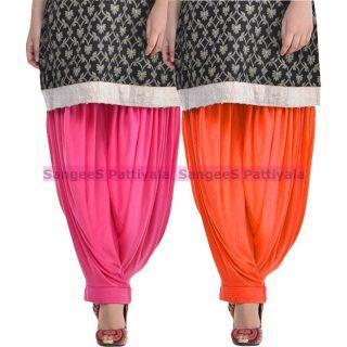 SangeeS Superior Quality Viscose Lycra Pattiyala 2 Pack Combo With   Hot Pink - Orange
