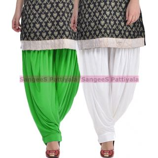 SangeeS Superior Quality Viscose Lycra Pattiyala 2 Pack Combo With   Green - White