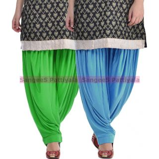 SangeeS Superior Quality Viscose Lycra Pattiyala 2 Pack Combo With   Green - Sky Blue