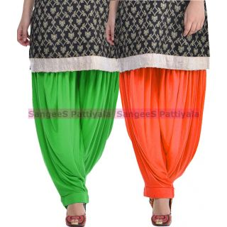 SangeeS Superior Quality Viscose Lycra Pattiyala 2 Pack Combo With   Green - Orange