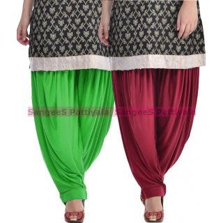 SangeeS Superior Quality Viscose Lycra Pattiyala 2 Pack Combo With   Green - Mulberry