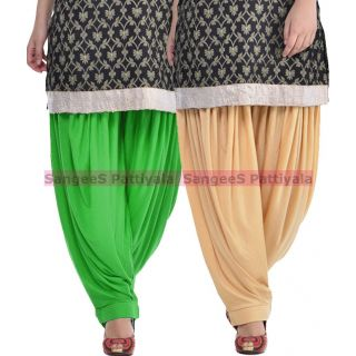 SangeeS Superior Quality Viscose Lycra Pattiyala 2 Pack Combo With   Green - Biege