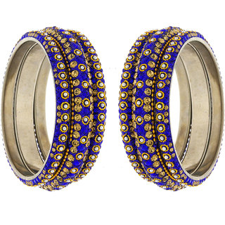 Anuradha Art Blue Colour Designer Classy Shimmering Stone With Sparkles Traditional Bangles Set For Women,Girls
