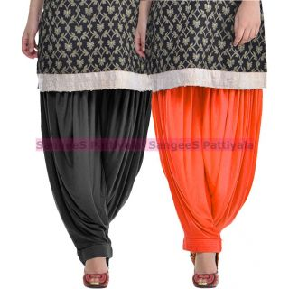SangeeS Superior Quality Viscose Lycra Pattiyala 2 Pack Combo With   Black - Orange