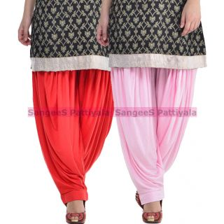 SangeeS Superior Quality Viscose Lycra Pattiyala 2 Pack Combo With   Red - Light Pink