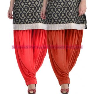 SangeeS Superior Quality Viscose Lycra Pattiyala 2 Pack Combo With   Red - deep brown