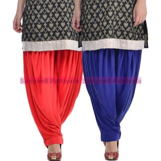 SangeeS Superior Quality Viscose Lycra Pattiyala 2 Pack Combo With   Red - Royal Blue