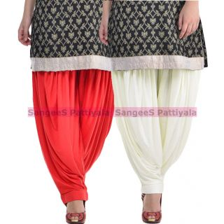 SangeeS Superior Quality Viscose Lycra Pattiyala 2 Pack Combo With   Red - Cream