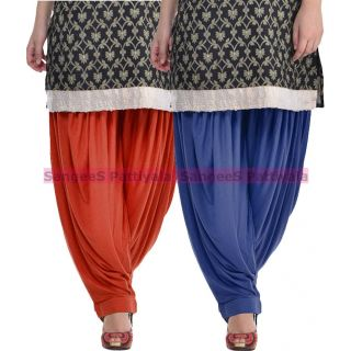 SangeeS Superior Quality Viscose Lycra Pattiyala 2 Pack Combo With   Deep Brown - Navy