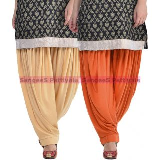 SangeeS Superior Quality Viscose Lycra Pattiyala 2 Pack Combo With   Biege - Trendy Brown