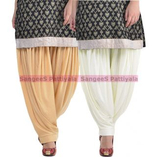 SangeeS Superior Quality Viscose Lycra Pattiyala 2 Pack Combo With   Biege - Cream